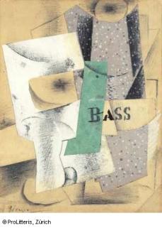 Verre et bouteille de Bass, Pablo Picasso, 1914 © ProLitteris