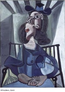 Pablo Picasso Femme au chapeau assise dans un fauteuil, 1941–1942 © ProLitteris