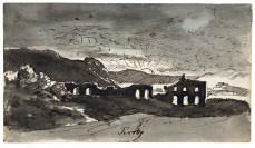 Ruines de l'Aqua Claudia près de Tivoli, en Italie, au coucher du soleil, 1805-1807