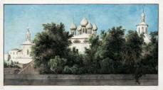Vue de la fenêtre de Miville sur une église orthodoxe de Moscou, 1809 ou 1814